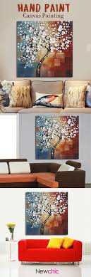US$8.00- Framed Hand Paint Canvas Painting Home Decor Wall Art Abstract  Flower Tree Decoration