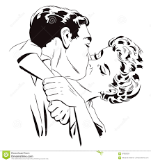 Loving Couple Kissing People In Retro Style Pop Art Stock Vector