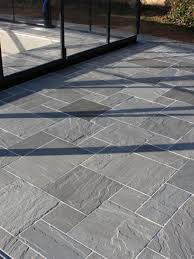 patio slabs. Kandla Grey Indian Sandstone Paving Slabs - Mix Size Patio Pack