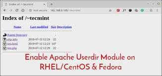 enable apache userdir module on rhel
