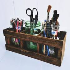 rustic office decor. mason jar desk organizer pencil or paintbrush holder office organization salvage reclaimed upcycle rustic decor