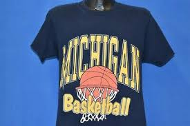 vintage 90s MICHIGAN WOLVERINES BASKETBALL NCAA NET t-shirt COLLEGE MEDIUM  M | eBay