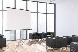 Modern office flooring Glass Modern Office Lounge Area With White Walls Wooden Floor Large Windows And Black Armchairs Tall Dining Room Table Thelaunchlabco Modern Office Lounge Area With White Walls Wooden Floor Large