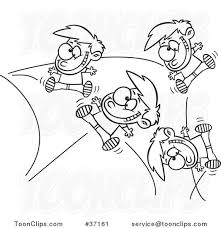 cartoon outlined energetic boy bouncing off the walls 37161 by ron leishman