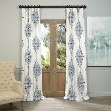 kerala blue 108 x 50 inch printed cotton twill curtain single panel half ds