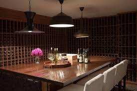 basement wine cellar with floor to ceiling wine racks