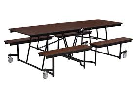 cafeteria lunch room break room 8ft rectangular mobile fixed bench tables