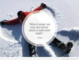 snow angels winter quote with inspirational wallpaper