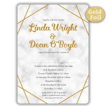Sample Of Weeding Invitation Marble Gold Foil Wedding Invitation Sample