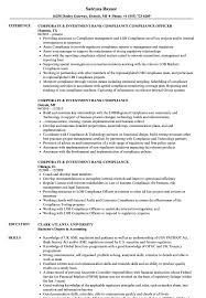 Sample Resume For Investment Banking Corporate Investment Bankcompliance Resume Samples Velvet Jobs 43