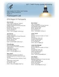 Region IV TANF Priority Update Workshop Participant List