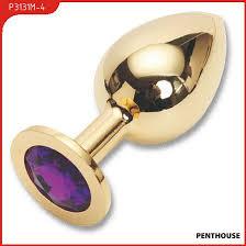 <b>Пробка</b> с фиолетовым кристаллом, <b>большая</b>, <b>золотая</b>, 40 х90 мм ...