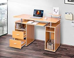 Image Desk Ikea Amazoncom Merax Sm000003 Essential Home Office Computer Desk With Pullout Keyboard Tray And Drawers