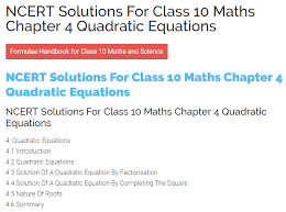 ncert solutions for class 10 maths chapter 4 quadratic equations ncert solutions blog