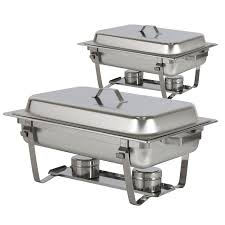 best choice s chafing dish set of 2 8 quart stainless steel full size tray buffet catering com