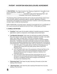 Nda Template Agreement Patent Invention Non Disclosure Agreement Nda Template Eforms