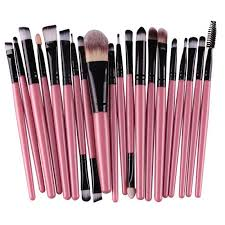 practical 20 pcs multifunction plastic handle nylon makeup brushes set pink