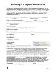 automatic withdrawal form template free recurring ach payment authorization form word pdf eforms