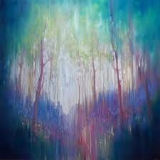 the promise a large woodland bluebell abstract painting