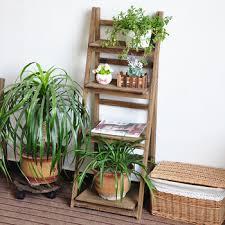 Wooden Ladder Display Stand Custom Ladder Design Wooden Plant Rack Flower Planter Shelf Display Stand