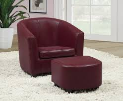 Leather Accent Chair With Ottoman Leather Accent Chairs For Living Room Ideas Feature Rich Burgundy