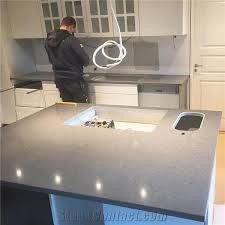 grey solid surface custom design kitchen countertop installation