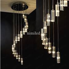 pendant and chandelier lighting. Nimi41 Modern Minimalist Fashion Transparent K9 Crystal Block S-shaped Duplex Staircase Pendant Chandelier Lighting And U