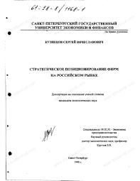 Диссертация на тему Стратегическое позиционирование фирм на  Диссертация и автореферат на тему Стратегическое позиционирование фирм на российском рынке