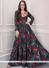 Designer Gown In Black Colour Multi Colour Designer Gown