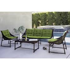 red sling patio chair handy living nico indoor outdoor 4 piece dark brown sling set with