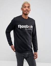 reebok jumper. reebok iconic sweatshirt in black bq2655 jumper l