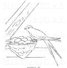 Small Picture Historical Vector Illustration of a Female Swallow Bird Perched on