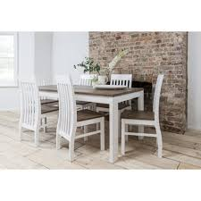 hever dining table with 6 chairs in white and dark pine