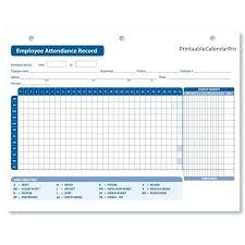 Blank Attendance Chart Template Employee Calendar Sheet Printable ...