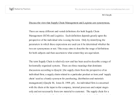 discuss the view that supply chain management and logistics are  document image preview