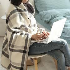 Winter <b>Multifunction</b> Tartan With Buttons Plaid <b>Blanket</b> Shawl Keep ...