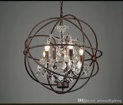 industrial lighting restoration hardware vintage crystal chandelier pendant lamp iron orb rustic gyro loft light