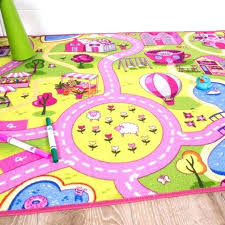 girls play rug funfair pink colourful kids town city roads floor furniture of america dining chairs