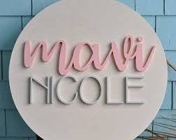 24 round wood sign personalized name custom nursery decor painted wall decor baby shower gift nursery art bedroom sign on personalized wall decor for nursery with custom nursery decor etsy
