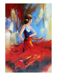 com wieco art flying skirt modern artwork abstract dancing people oil paintings on canvas wall art for home decorations wall decor stretched and