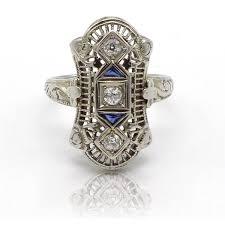 old european cut diamond filigree bluee sapphire long ring 18k white gold size 4 oosxzp4725 diamond