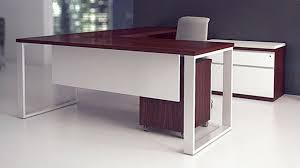 desk attractive executive l shape desk wood construction cherry and white gloos finish wheel casters mobilite