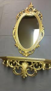 vintage syroco gold wall mirror shelf