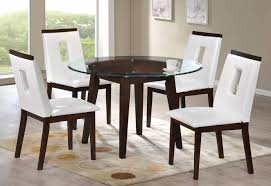 myco furniture wegman round glass top table white leather chairs dining set 5pcs order