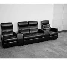 anetos series 4 seat reclining black leather theater seating unit with cup holders bt 70273 4 bk gg