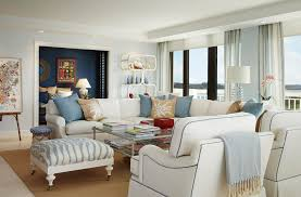 blue and beige curtains living room transitional with palm beach white bookcase floor to