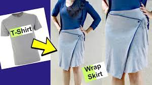 diy convert old t shirts into wrap around skirts asymmetrical skirt