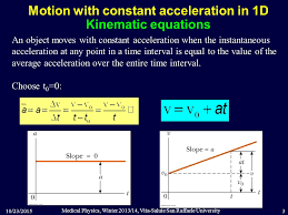 motion with constant acceleration in 1d kinematic equations