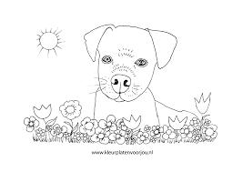 Kleurplaat Hondje Tussen De Bloemen Kleurplaten Voor Jou