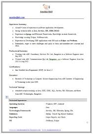 ... Example Template Of An Excellent Computer Science Engineer Resume  Format For Iti Fresher ...